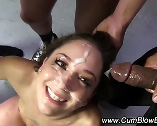 Interracial dark weenie bitch cum facual cumshots