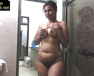 Mature indian mamma pressing large desi wobblers in shower masturbation