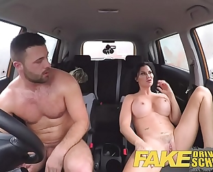 Fake driving school fortunate juvenile boy tempted by his breasty milf examiner