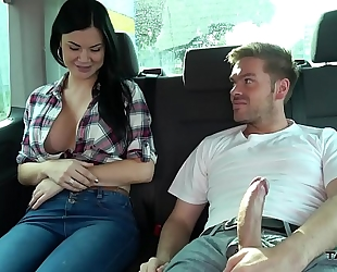 Ryan ryder convince youthful innocet enchanting jasmine jae to fuck in driving van